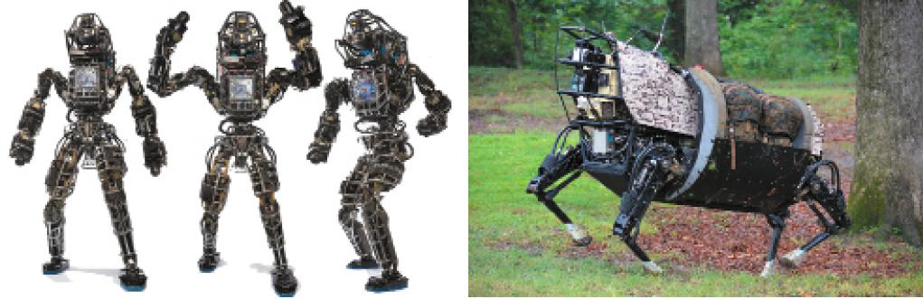 Шагающие роботы: а) антропоморфные Atlas; б) робот-мул BigDog
