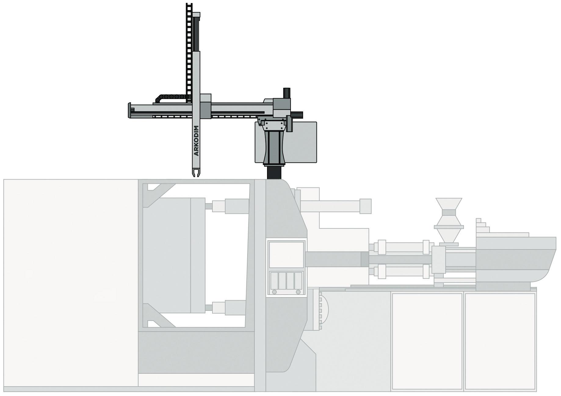 Рис. 2. Робот ARKODIM на термопластоавтомате