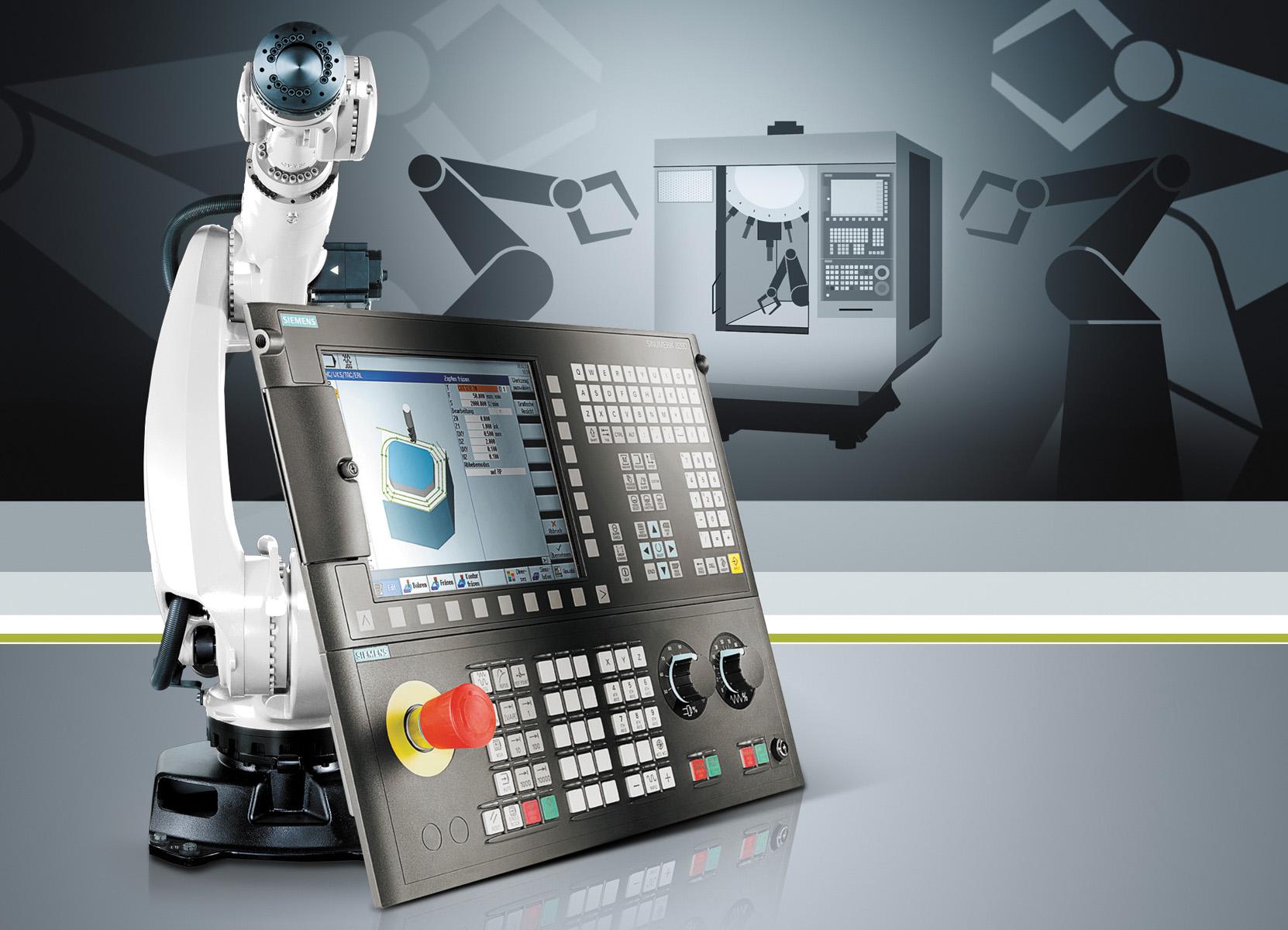 Sinumerik 828D и 840D sl от компании Siemens позволяют роботам легко подключаться к станкам для автоматизированных производственных ячеек