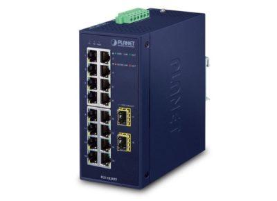 IGS-1820TF — промышленный неуправляемый коммутатор с 16 медными портами 10/100/1000BASE-T и двумя оптическими портами 1000X SFP