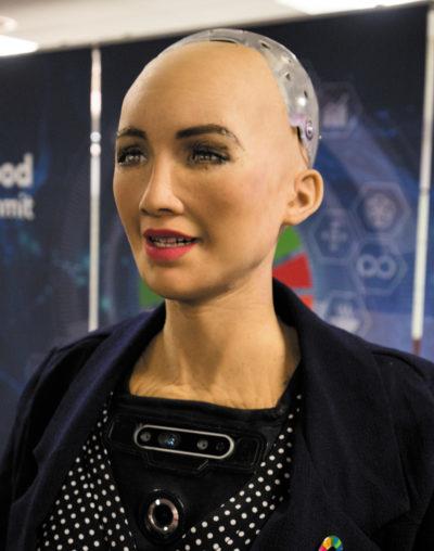 София выступает на международном саммите, посвященном искусственному интеллекту, МСЭ, Женева, Швейцария