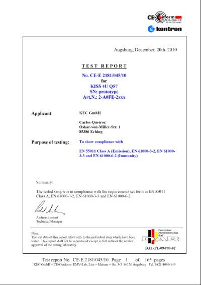 Титульная страница отчета о тестировании компьютера KISS 4U Q57 на соответствие промышленным требованиям EN 55011 Class A, EN 61000-3-2, EN 61000-3-3 и EN 61000-6-2