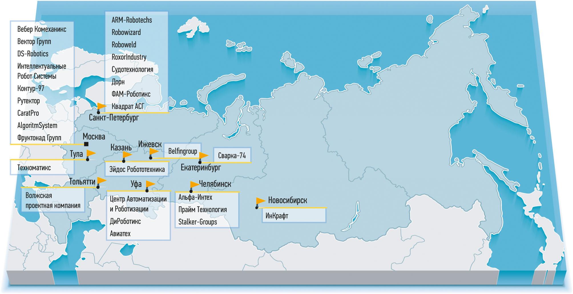 Рис. 4. Карта системных интеграторов России (данные на сентябрь 2016 г.). Источник: Национальная Ассоциация участников рынка робототехники