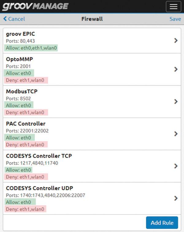 В этом примере конфигурация брандмауэра открывает только определенные порты для протоколов OT и лишь в локальной доверенной сети (в данном случае — eth0), запрещая все подключения из недоверенной сети (eth1). Доступ к контроллеру groov EPIC возможен только через порты 80 и 443 (когда порт 80 открыт, любой входящий трафик автоматически перенаправляется на порт 443, который является безопасным)