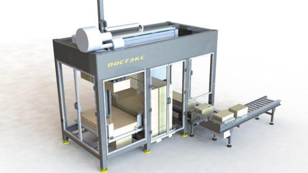 Автоматический палетизатор коробов с укладкой дополнительной гофропрокладки между слоями