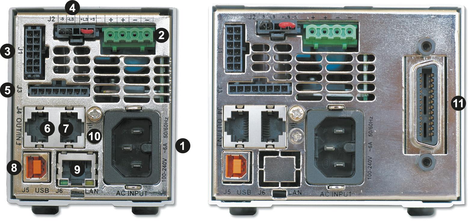 Два варианта задней панели ИП серии Z+