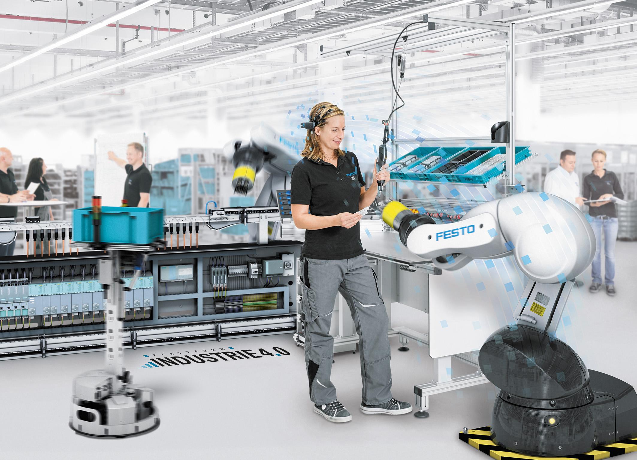 Производственные команды из человека и роботов на заводе Festo