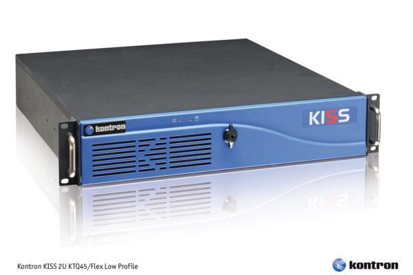 Защищенный промышленный сервер Kontron KISS 2U KTQ45/Flex Low Profile, поддерживающий быстрые двух- и четырехъядерные процессоры, имеющий глубину всего 350 мм, характеризующийся очень низким уровнем шума и средним временем наработки на отказ 50000 часо