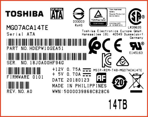 Фрагмент маркировки HDD MG07ACA14TE