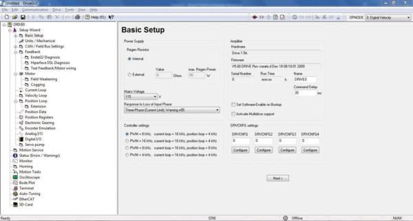 Программное обеспечение DriveGUI. Экран базовых настроек