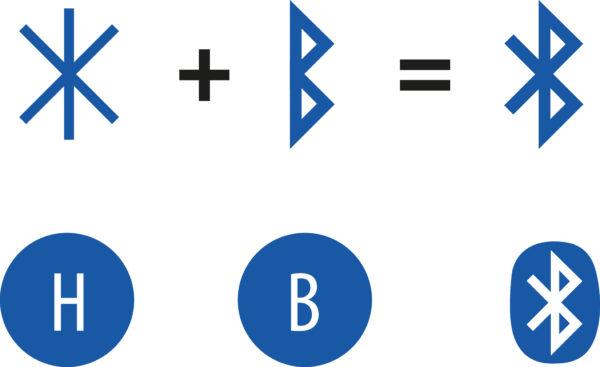 """Рунические символы, составляющие логотип Bluetooth: """"H"""" — Harald, """"B"""" — Bl?tand"""
