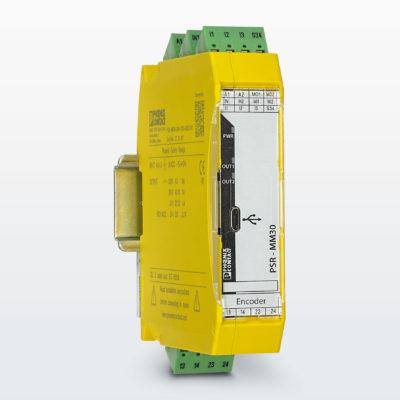Реле безопасности PSR-MM30 контролирует состояние останова и до трех пределов скоростей на одной машине