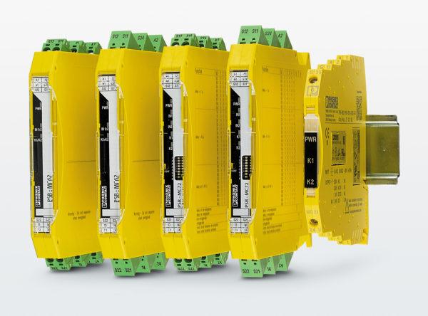 Ширина корпуса реле безопасности серии PSRmini находится в пределах 6 и 12 мм