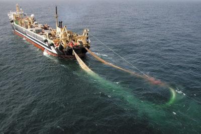 Буксировка трала рыболовным судном