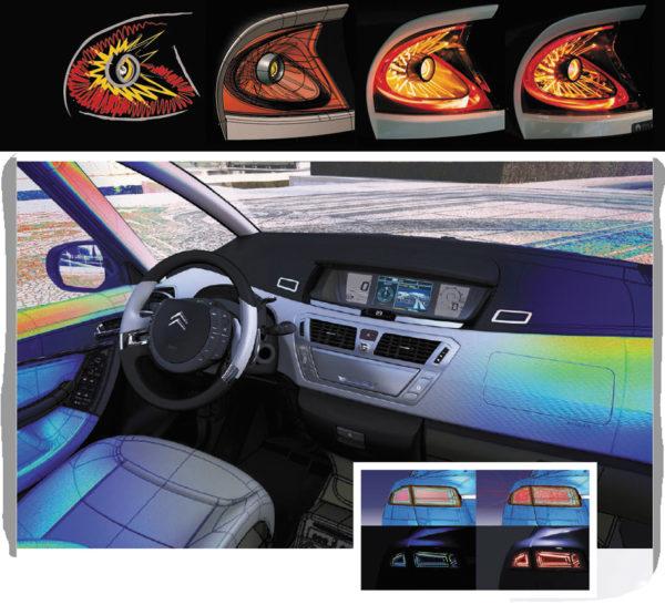Новые возможности оптического моделирования от Ansys находят широкое применение в различных отраслях промышленности, например в автомобилестроении для проектирования систем внешнего (вверху) и внутреннего освещения (внизу)