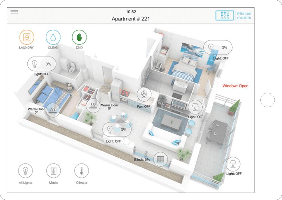 Общий план квартиры с состоянием системы
