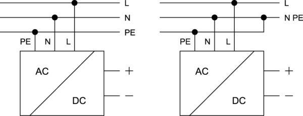 Варианты схемы подключения однофазных конвертеров серии EL к сети переменного тока