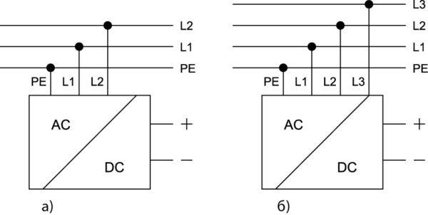 Схемы подключения двух- и трехфазных конвертеров серии EL к сети переменного тока