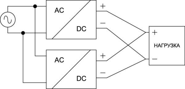 Схема параллельного подключения конвертеров серии EL, предназначенная для увеличения выходного тока