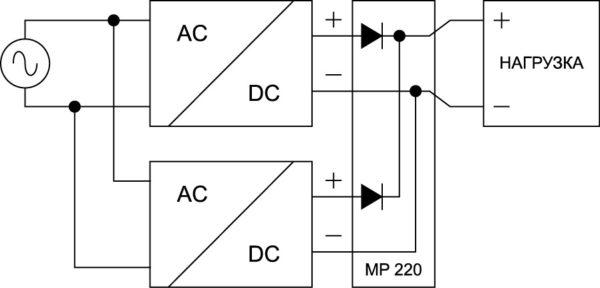 Вариант параллельного подключения конвертеров серии EL, предназначенный для обеспечения резервного питания в аварийной ситуации