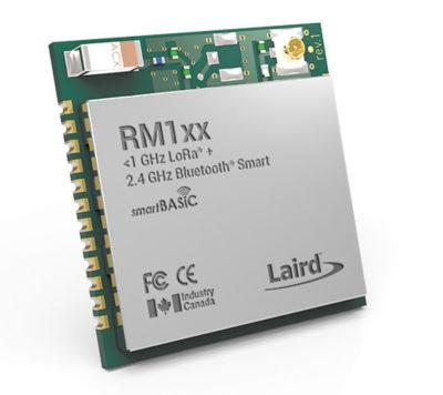 Модуль RM1xxот компании Laird, включающий коммуникационные возможности для протоколов беспроводных сетей LoRa и Bluetooth