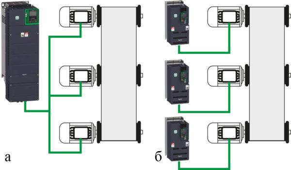 Варианты управления объединенными на одну нагрузку электродвигателями