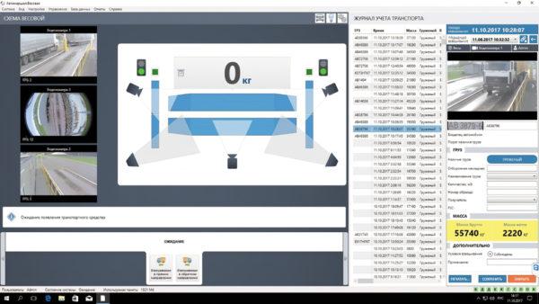 Скриншот ПО «Автомаршал.Весовая» (комплектация с тремя камерами, двумя ИК-барьерами, двумя светофорами)