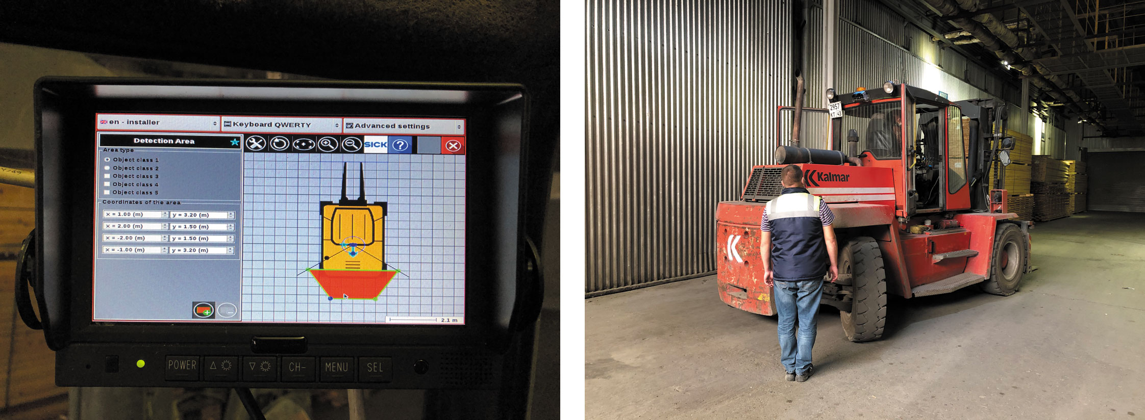 Пример использования системы Visionary-B для предотвращения наезда на персонал