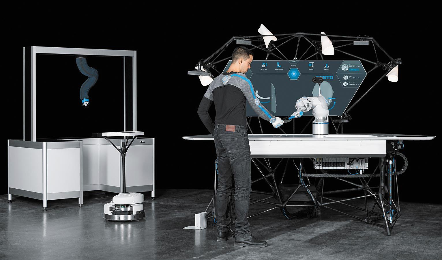 BionicWorkplace: BionicCobot, взаимодействующий с BionicMotionRobot и Robotino