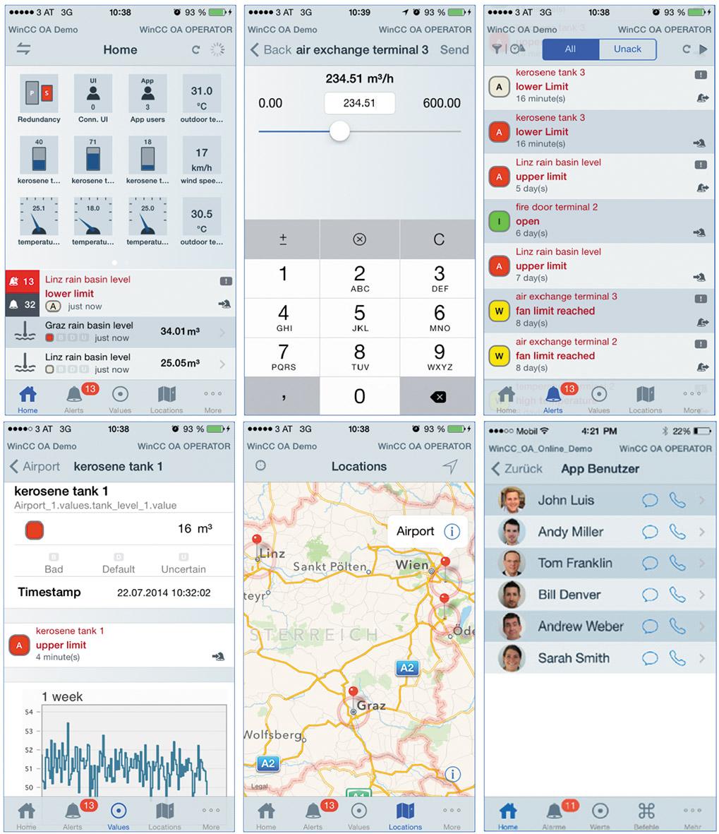 Рис. 4. Примеры внешнего вида экранов приложения WinCC OA OPERATOR