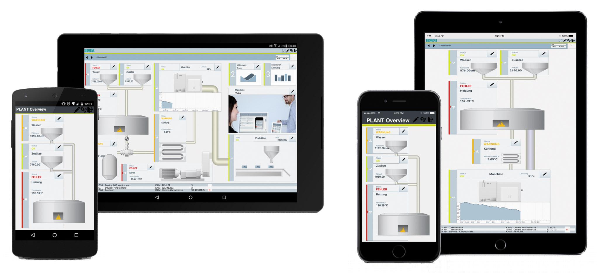 Рис. 6. Примеры пользовательского интерфейса WinCC OA для iOS и Android