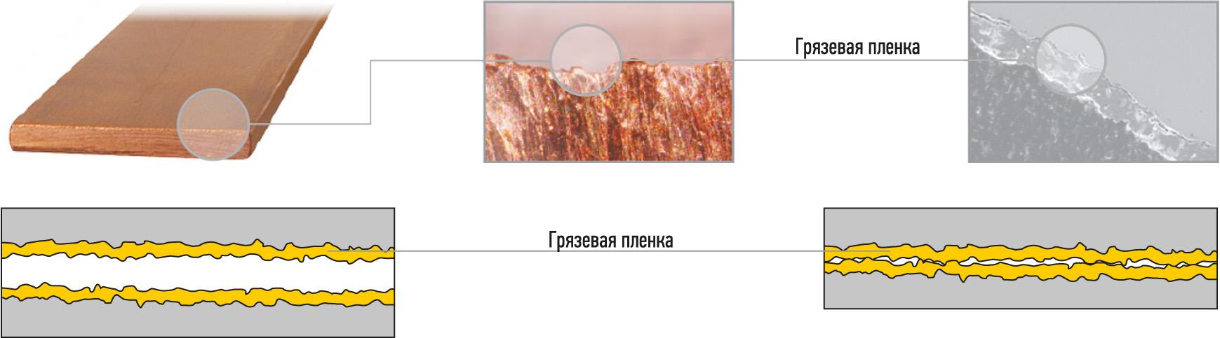 Поверхность электрического контакта под микроскопом