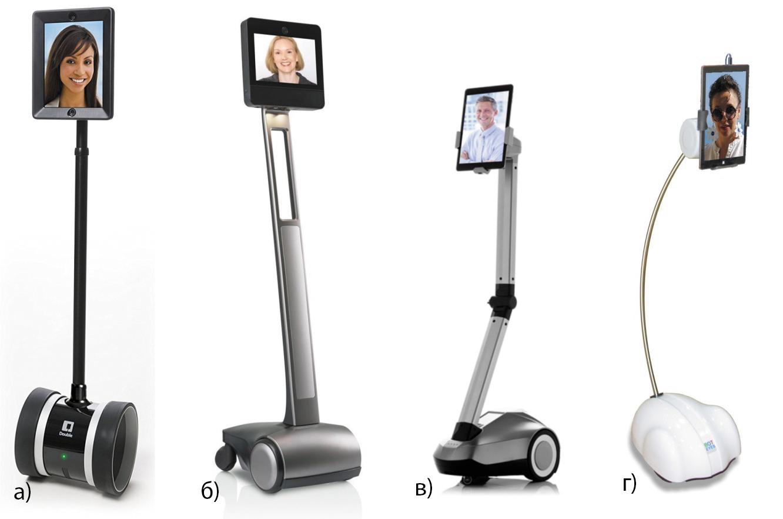 Наиболее распространенные роботы телеприсутствия: Double 2, Beam+max, Padbot P2, BotEyes-Pad
