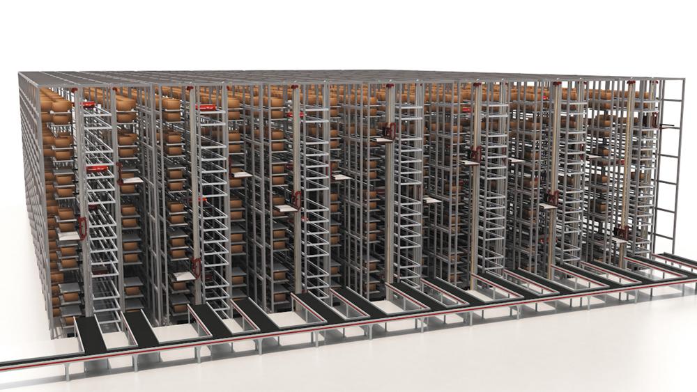 Компактные транспортные средства-шаттлы движутся со скоростью до 4 м/с по стеллажам, максимальная занимаемая площадь составляет 150 м в длину и 25 м в высоту