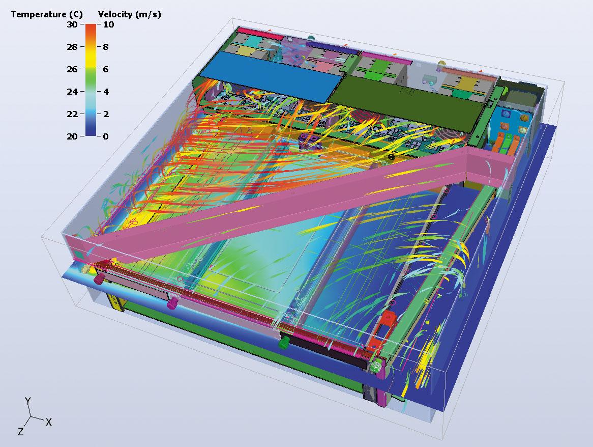 Рис. 3. Распределение температуры в трехмерной модели, полученной с использованием 6Sigma
