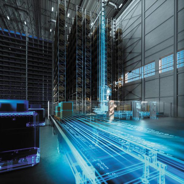 Высокие складские и челночные стеллажи с передовой технологией подъемников и транспортировки позволяют максимально использовать доступное пространство в центрах распределения и выполнения заказов. Выступая в качестве цифрового двойника, передовое ПО для имитационного моделирования способно помочь центрам исполнения и распределения оставаться конкурентоспособными от проектирования и до эксплуатации