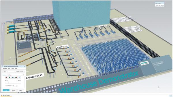 Инструмент Siemens Plant Simulation можно использовать для создания комплексного цифрового двойника предприятия в целом. Такой двойник направлен на оптимизацию производственных параметров нового объекта или для экспериментов с методами улучшения производительности на уже существующем складе