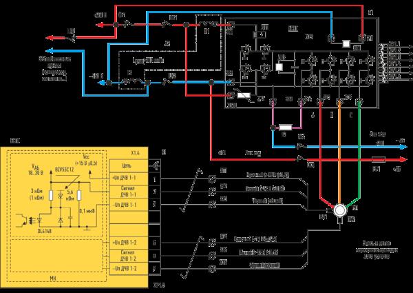 Схема силовых цепей универсального комплекта тягового электропривода ЭПРОТЭТ