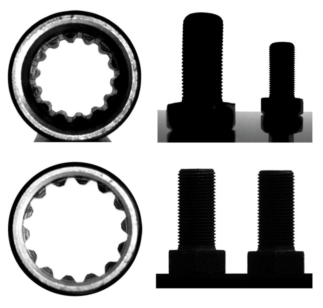 Рис. 2. Изображения отстоящих на разном расстоянии от объектива предметов одинакового размера и протяженного предмета, полученные с помощью обычного (внизу) и телецентрического (сверху) объектива
