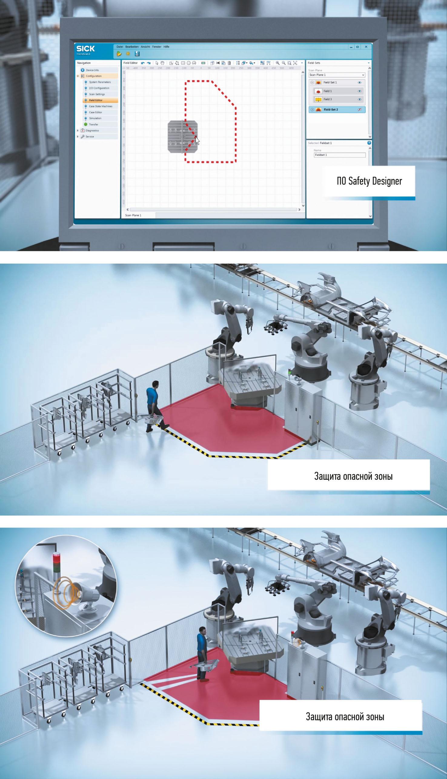 Рис. 4. Создание зоны безопасности для сканера семейства microScan3 Core: а) проектирование с использованием ПО Safety Designer; б) приближение вплотную к зоне безопасности, сигнал об опасности не подается; в) срабатывание сигнализации о входе в запрограммированную защитную зону непосредственно на объекте, результат – опасное движение (поворот стола) остановлено