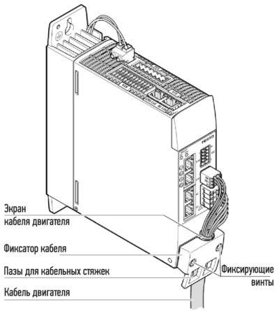 Фиксация и подключение кабеля двигателя