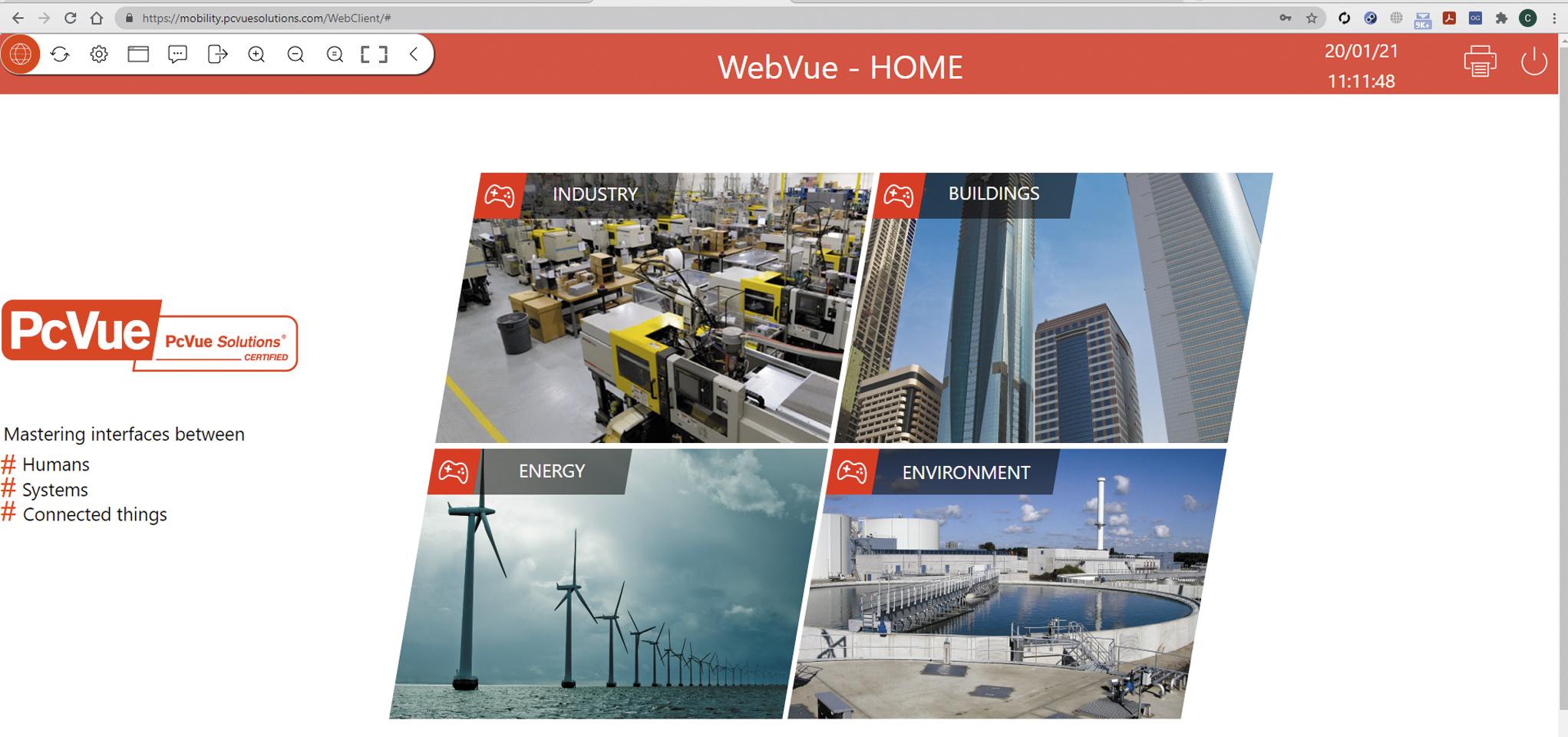 Главная страница демонстрации WebVue
