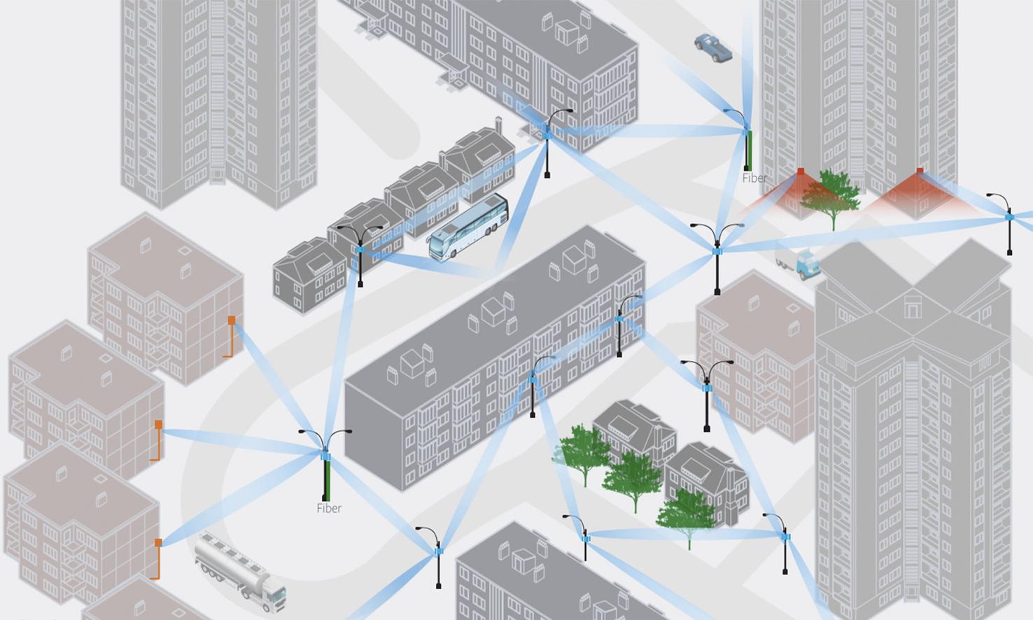 Сеть Terragraph в городской застройке — пример концепта, как его видит Facebook.