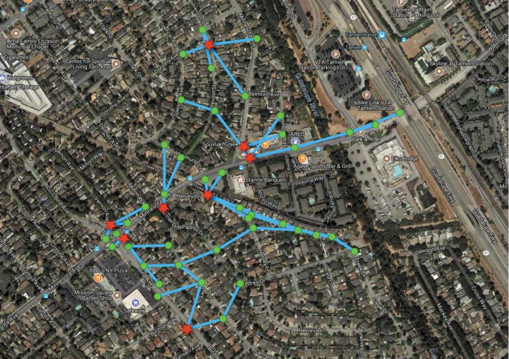 Фрагмент карты Сан-Хосе в проекте Terragraph-подобной сети AT&T. Красные точки — подключения к оптике