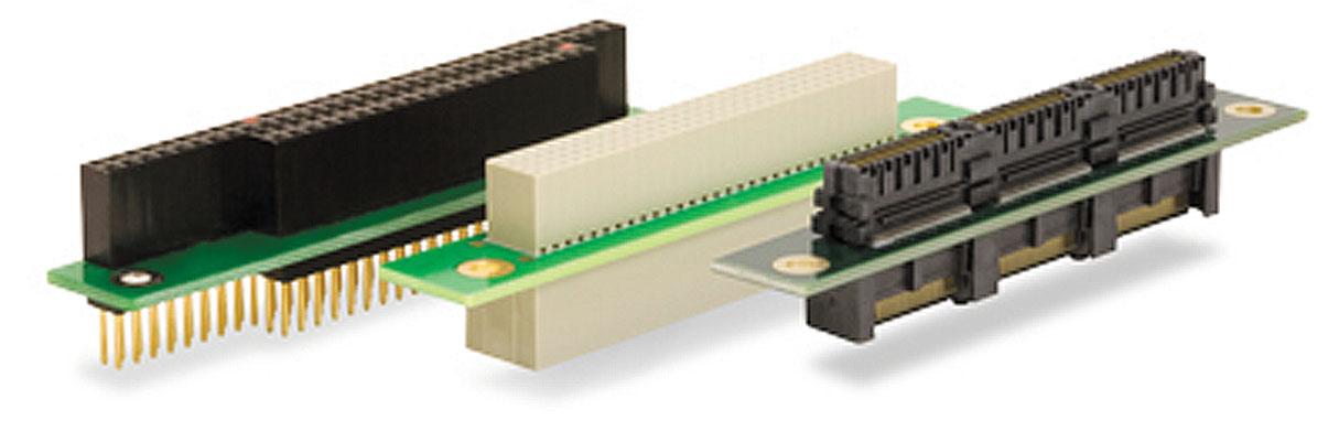 Рис. 3. Разъемы (слева на право): ISA, PCI, PCIe для модулей PC/104