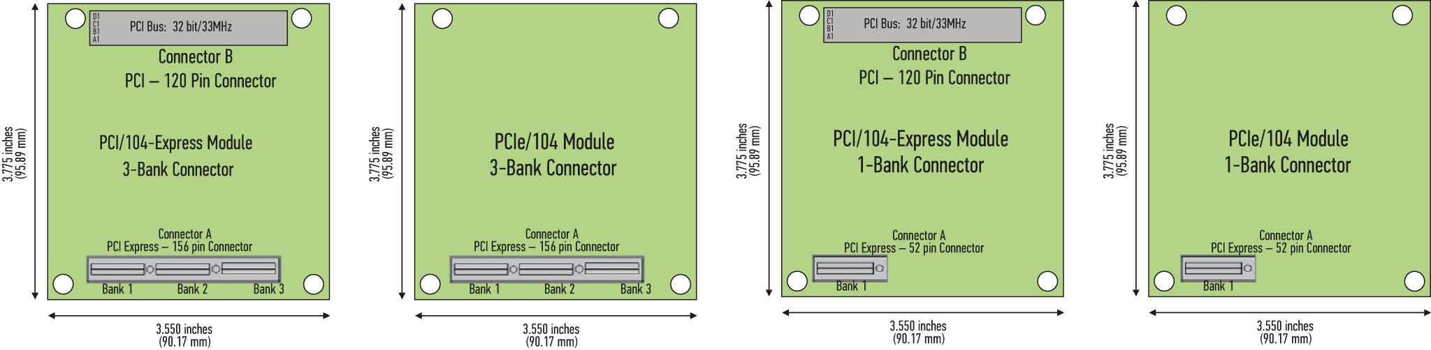 Рис. 5. PCI/104-Express и PCIe/104 с полным разъемом PCIe и в варианте OneBank