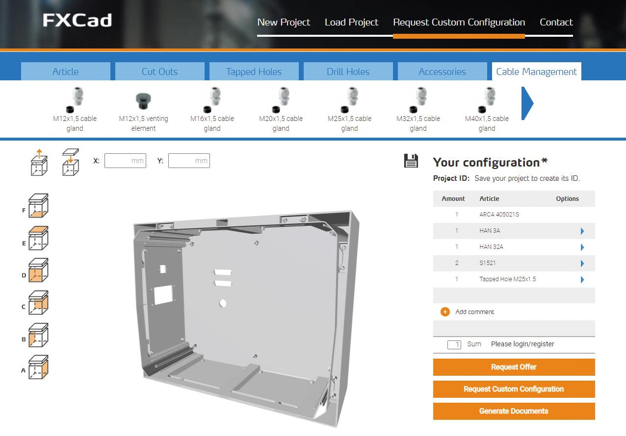 Внешний вид онлайн-конфигуратора FXCAD
