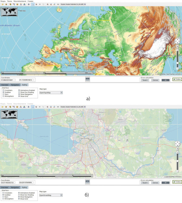 Рис. 4. Пример внешнего вида экрана с использованием виджета Maps EWO:  OpenTopoMap; OpenStreetMap