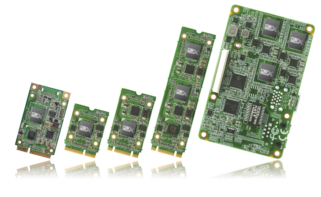 Акселераторы нейронной сети серии UP AI Core X (слева направо: UP AI Core X, UP AI Core XM 2230, UP AI Core XM 2242, UP AI Core XM 2280 и UP AI Vision Plus X*)