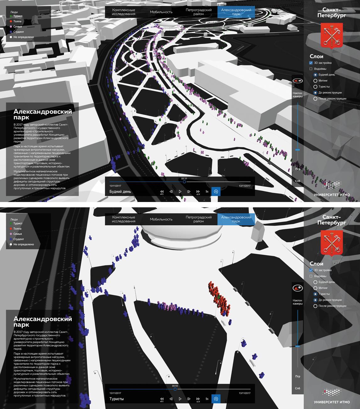Визуализация результатов моделирования пешеходной мобильности в городской среде